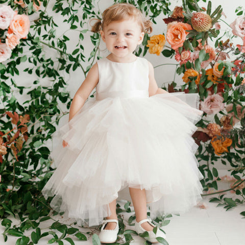 White High-Low Tulle Flower Girl Dresses, Satin Lovely Tutu Dresses,  D1001