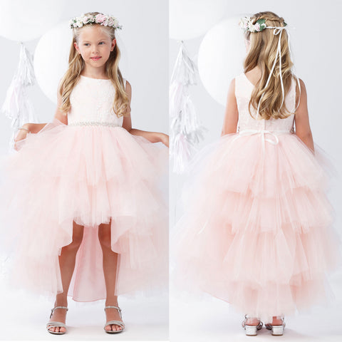 6b40f706f17 Pink High-Low Tulle Lace Top Flower Girl Dresses
