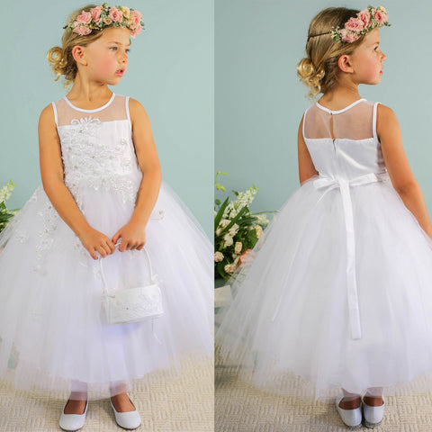 Cute Tulle A-Line Flower Girl Dresses, Applique Flower Lovely Little Girl Dresses, D1143