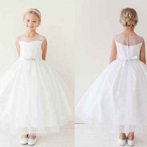 Lace Top Tulle Flower Girl Dresses, Popular Little Girl Dresses with Beaded Belt, D1147