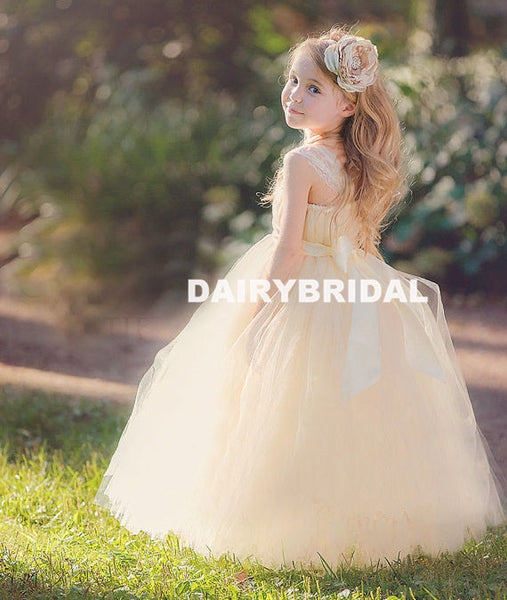 Straight Neckline Tulle Flower Girl Dresses with Handmade Flower, Flower Lovely Little Girl Dresses, D1148
