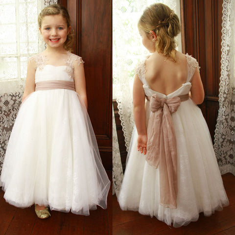 Cap Sleeve Lace Tulle Flower Girl Dresses, Popular Little Girl Dresses with Tulle Belt, D1150