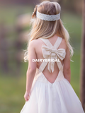 Simple Lace Top Flower Girl Dresses, A-Line Tulle Popular Little Girl Dresses, D1168