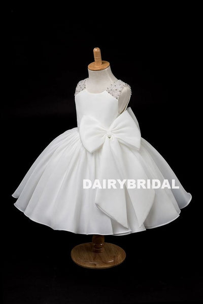 Beaded A-Line Flower Girl Dresses, Lovely Little Girl Dresses with Bowknot, D1172