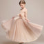Simple A-Line Tulle Flower Girl Dresses, Lovely Little Girl Dresses with Handmade Flower, D1176