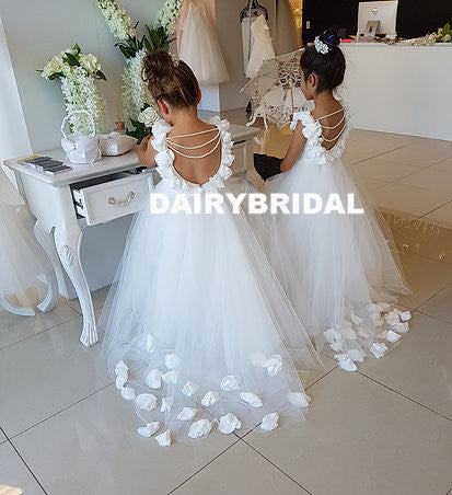 White Backless Applique Flower Girl Dresses, Tulle Lovely Little Girl Dresses, D1197