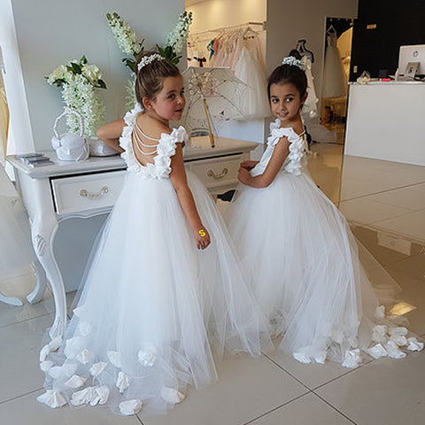 b8ca62bb81 White Backless Applique Flower Girl Dresses