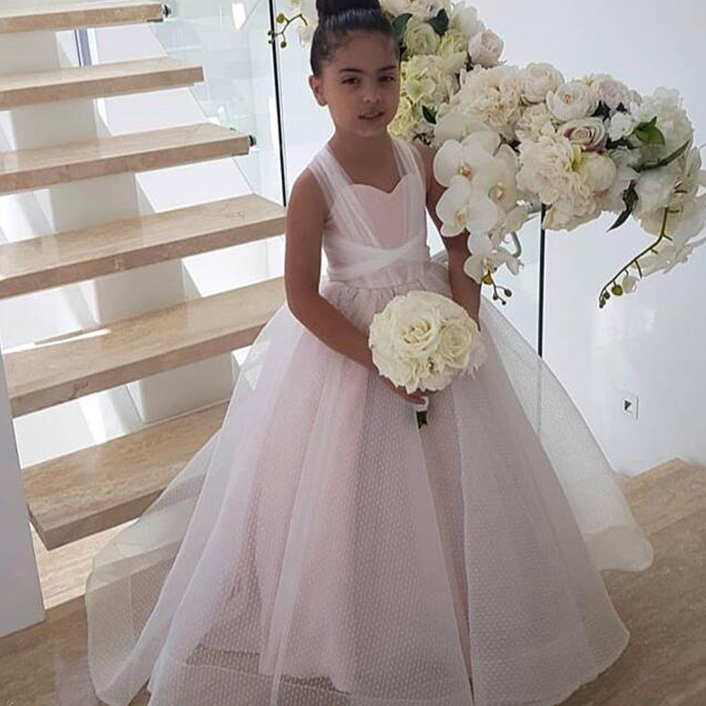 Pink Organza Tulle A-Line Flower Girl Dresses, Lace Up Lovely Little Girl Dresses, D1198