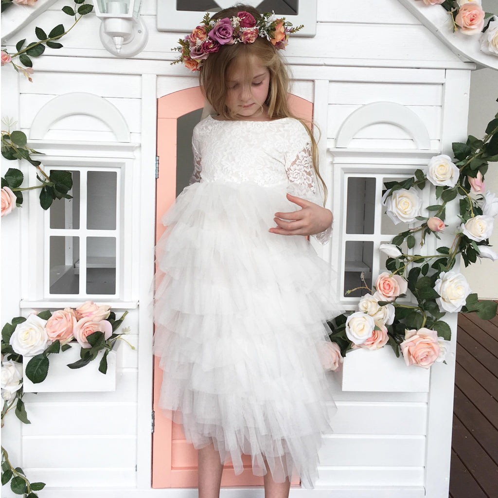 White Long Sleeve Lace Flower Girl Dresses, Tulle Backless Popular Little Girl Dresses, D1202