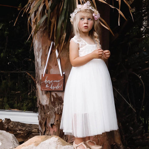 A-Line Lace Sleeveless Tulle Flower Girl Dresses, Lovely Little Girl Dresses, FC1203