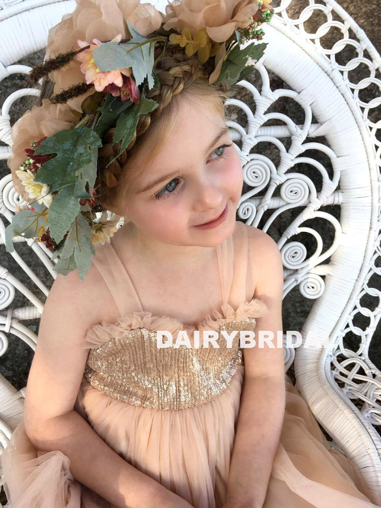 Champagne Tulle Backless Flower Girl Dresses, Sequin Lovely Little Girl Dresses, D1238
