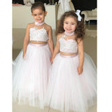 Halter Two Pieces Tulle Flower Girl Dresses, Applique Lovely Little Girl Dresses,  D1355