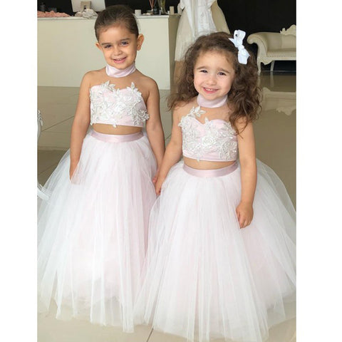 ecef6615597 Halter Two Pieces Tulle Flower Girl Dresses