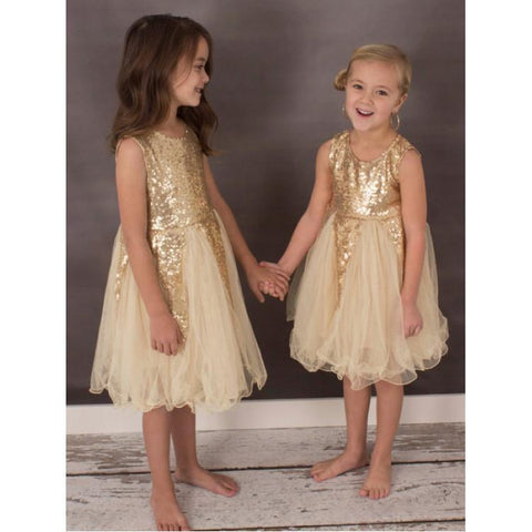 6df1934d4d6 Gold Sequin A-Line Tulle Flower Girl Dresses