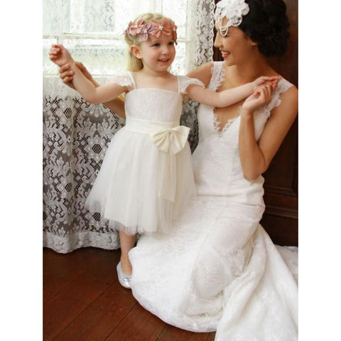 Lace Top Simple Tulle Popular Flower Girl Dresses, Cheap Little Girl Dresses, FC1358