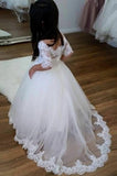 Cute Off Shoulder Tulle Flower Girl Dresses, Popular Lace Little Girl Dresses, FC1362