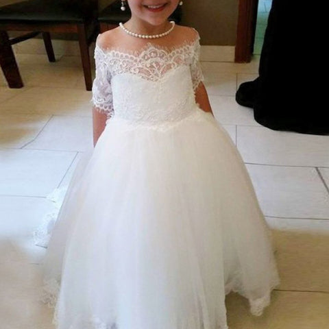 c09a49497a Cute Off Shoulder Tulle Flower Girl Dresses