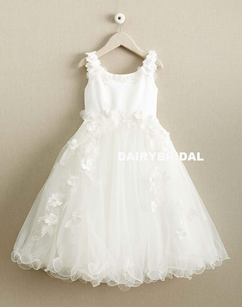 White Tulle Round Neckline Flower Girl Dresses, Applique Popular Little Girl Dresses, D994