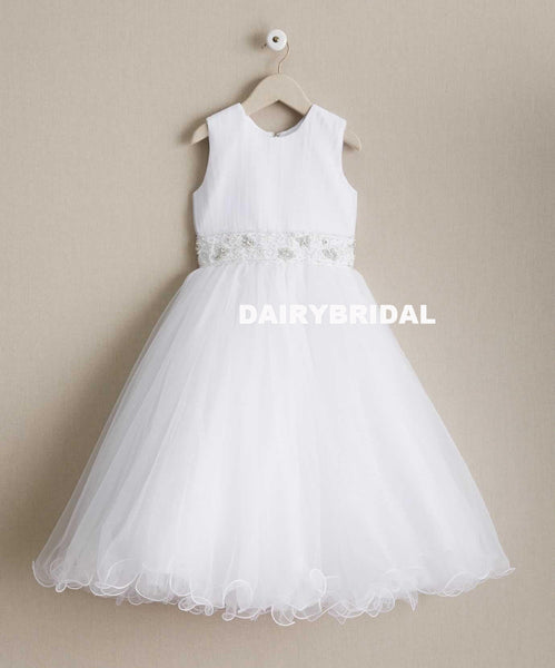 White Beaded Round Neckline Flower Girl Dresses, Tulle Popular Little Girl Dresses, D995
