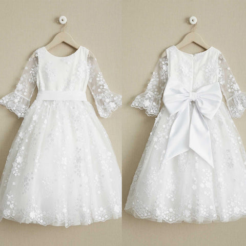 White Lace Round Neckline Flower Girl Dresses, Half Sleeve Popular Little Girl Dresses, D997