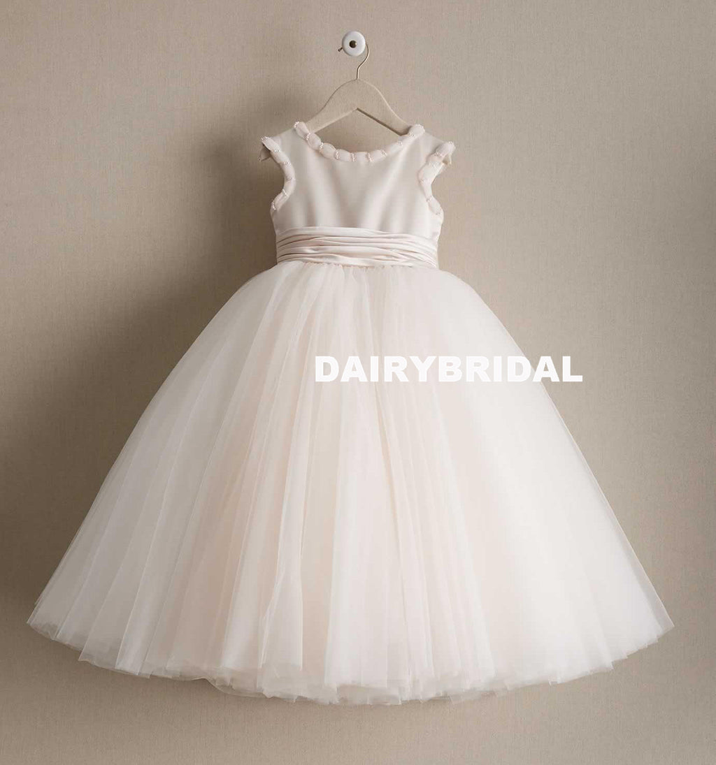 Flower girl dresses dairy bridal tulle cheap a line flower girl dresses popular little girl dresses with bow mightylinksfo