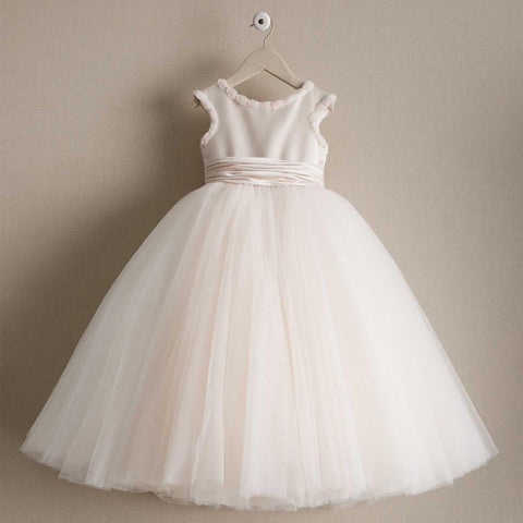 Tulle Cheap A-Line Flower Girl Dresses, Popular Little Girl Dresses with Bow-Knot, D998