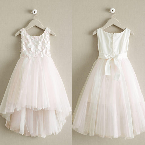 High-Low Tulle Applique Flower Girl Dresses, Cheap Popular Little Girl Dresses, D999