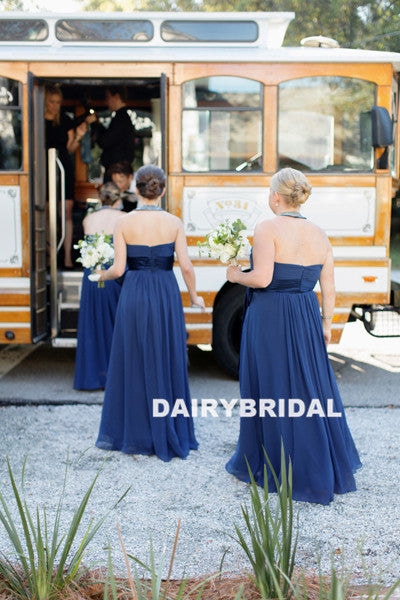 Halter Backless Chiffon Bridesmaid Dress, Beaded Cheap Bridesmaid Dress, D906