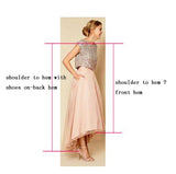 V-Neck Jersey Prom Dress, Sleeveless High-Low Prom Dress, D166
