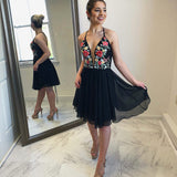 Spaghetti Straps Black Homecoming Dress, A-Line Chiffon Backless Embroidery Homecoming Dress, D1249