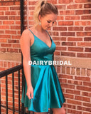 Spaghetti Straps Backless V-Neck Homecoming Dress, Cheap Satin A-Line Homecoming Dress, D1279