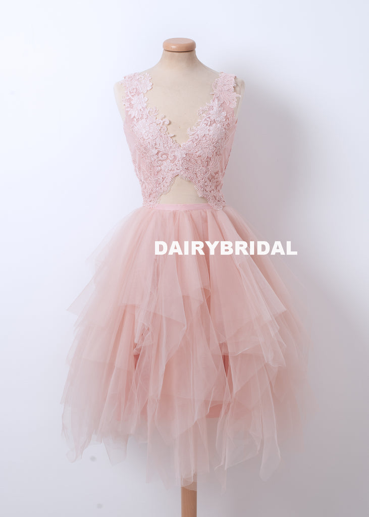 New Lace Top BacklessHomecoming Dress, Pink Tulle A-line Homecoming Dress, D1314