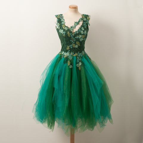 Forest Green A-Line Beaded Homecoming Dress, Tulle Sleeveless Applique Homecoming Dress, D1315
