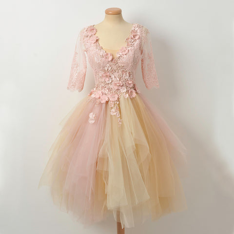 Pink A-Line Beaded Homecoming Dress, Short Sleeve Applique Tulle Homecoming Dress, D1316