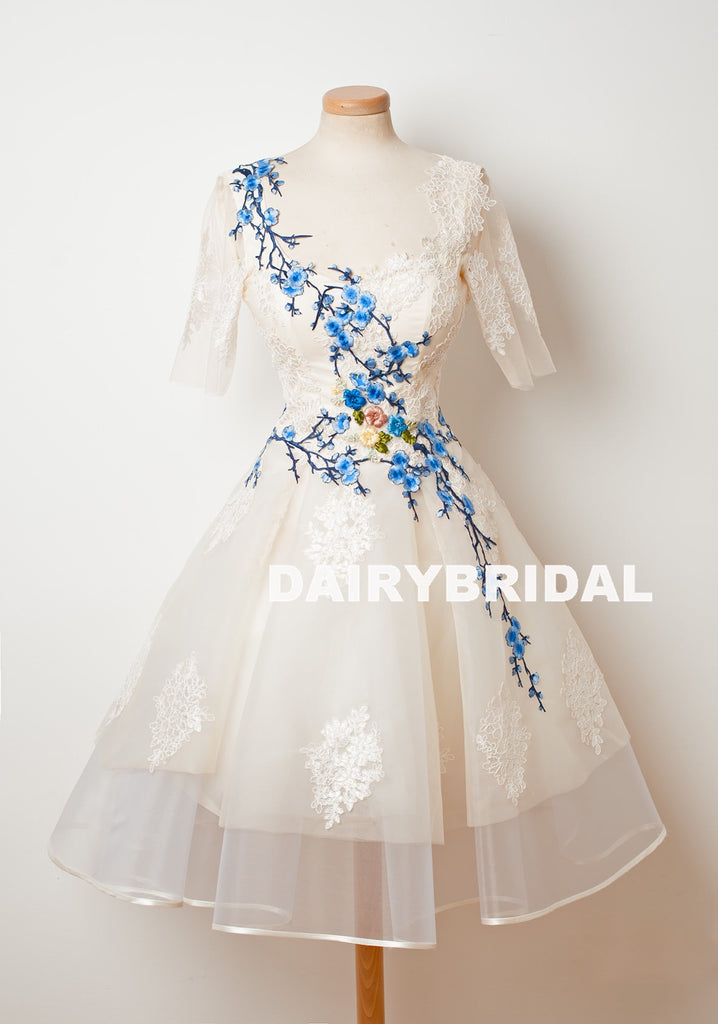 Organza A-Line Tulle Homecoming Dress, Short Sleeve Applique Homecoming Dress, D1317