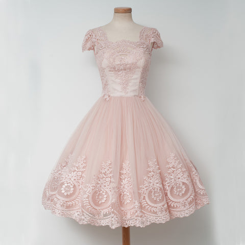 Cap Sleeve Pink Lace Homecoming Dress, Tulle A-Line Backless Homecoming Dress, D1318