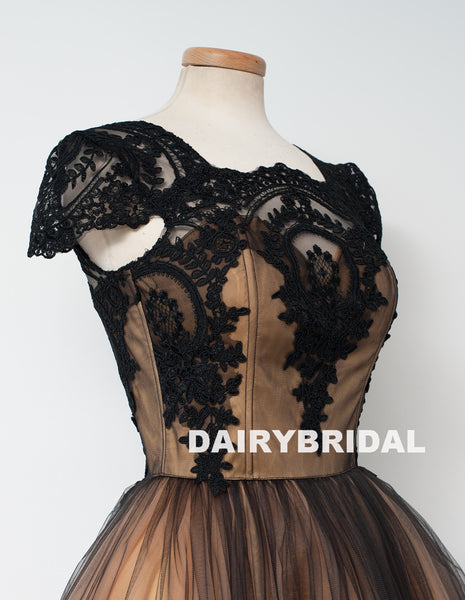 Newest Cap Sleeve Black Lace Homecoming Dress, Tulle A-Line Backless Homecoming Dress, D1319