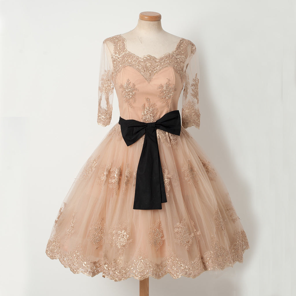 Charming Lace A-Line Homecoming Dress, Short Sleeve Tulle Homecoming Dress, D1320