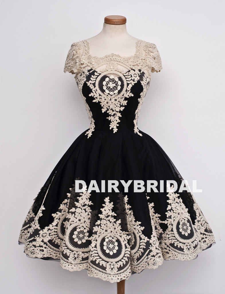 Black Lace Cheap Homecoming Dress, Cap Sleeve Tulle A-Line Homecoming Dress, D1321