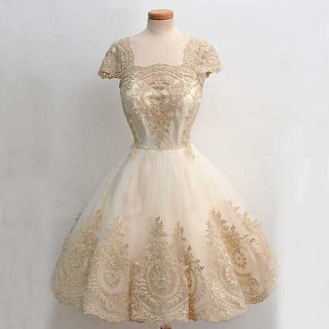 Elegant Lace Cheap Homecoming Dress, Cap Sleeve Tulle A-Line Homecoming Dress, D1322
