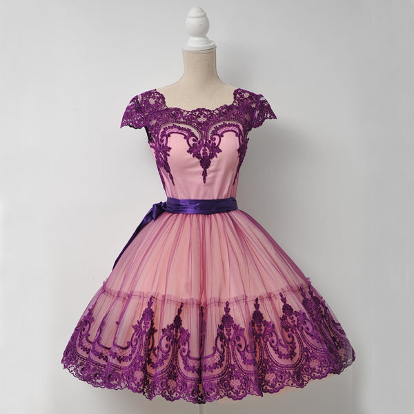 Special Popular Lace Cheap Homecoming Dress, Cap Sleeve Tulle A-Line Homecoming Dress, D1323