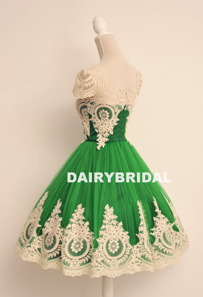 Green Lace Popular Homecoming Dress, Cap Sleeve Tulle A-Line Homecoming Dress, D1324