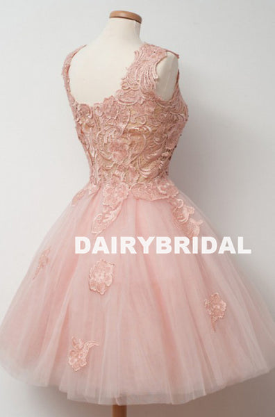 Popular Pink Tulle A-line Homecoming Dress, Applqiue Sleeveless Homecoming Dress, D1367