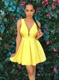 Short Sexy Yellow Homecoming Dress, Satin A-Line Knee-Length Homecoming Dress, D1390