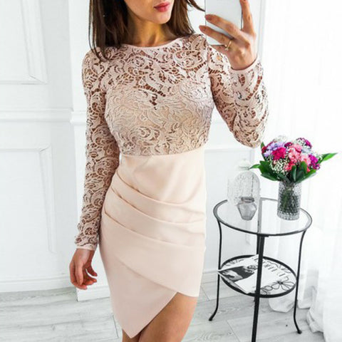 Long Sleeve Lace Top Homecoming Dress, Sheath Knee-Length Homecoming Dress, D1392