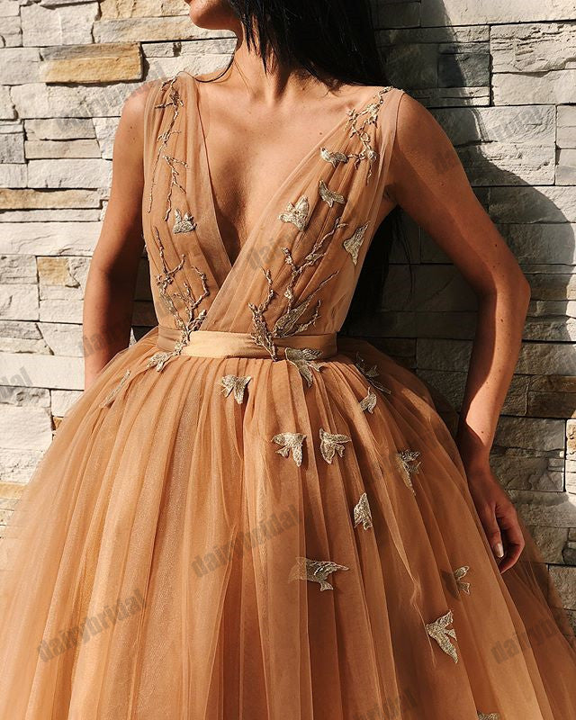 Tulle Spaghetti Straps Backless Homecoming Dress, A-Line Deep V-Neck Applique Homecoming Dress, D1429