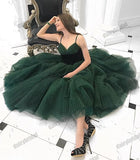 Spaghetti Straps Tulle Homecoming Dress, V-Neck Short A-Line Backless Homecoming Dress, D1446