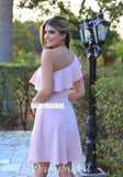 Simple One Shoulder A-line Knee-Length Homecoming Dress, FC1556