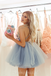 Sexy Deep V-neck Backless Tulle A-line Homecoming Dress, FC3826