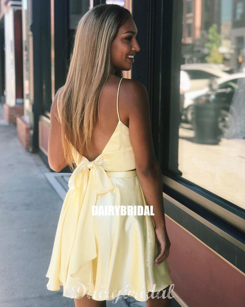 Yellow Two Pieces A-line Spaghetti Straps Backless Homecoming Dress, FC4012